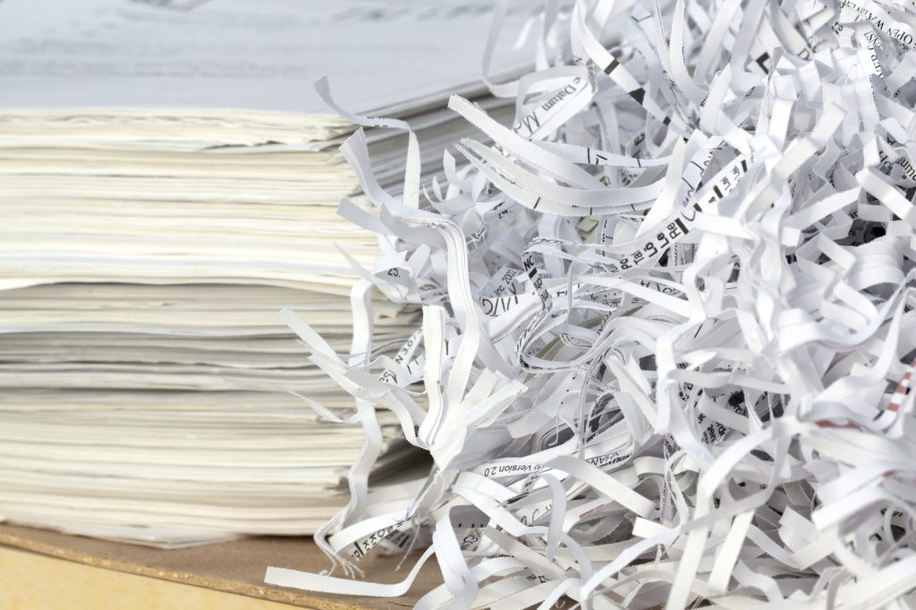 Shredded paper and documents.